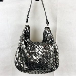 Michael Kors Cross-stitched Gunmetal Shoulder Bag